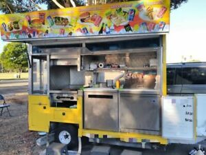 5 X 13 Street Food Vending Concession Cart With Side Serving Feature For Sale