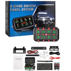 Auxbeam 8 Gang Switch Panel On off Green Led Switch Panel Circuit Control 12 24v