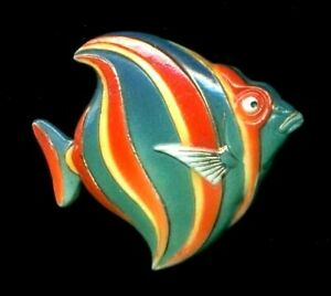 Vintage Japanese Arita Porcelain Button Stunning Large Colorful Fish Toshikane