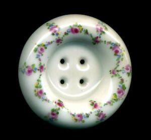 Rare Antique Porcelain Button Gorgeous Well Made Sew Thru With Tiny Pink Roses