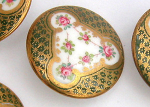 Antique Porcelain Button Wedgwood Back Marked Intricate Design W Pink Rosebuds
