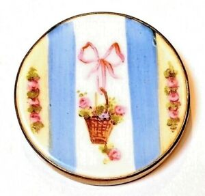 Antique Button Large Hand Painted Porcelain Basket Of Tiny Roses With Pink Bow