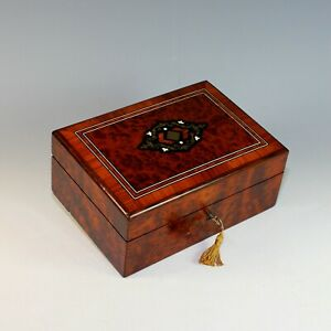 Inlaid Antique French Burl Wood Box With Key