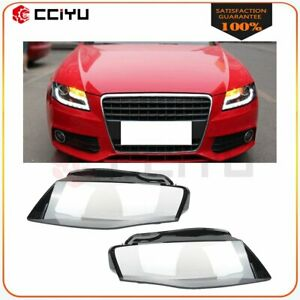 2x Headlight Lens Cover Headlamp Left Right Fit For 2009 2012 Audi A4
