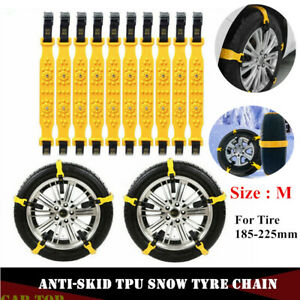 10x M Size Car Tire Snow Chains Winter Mud Tyre Anti skid Tpu Emergency Belts