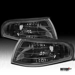 For 1994 1998 Ford Mustang Black Corner Signal Lights Lens