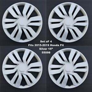 New Wheel Covers Hubcaps Fits 2015 2019 Honda Fit 15 Silver Set Of 4