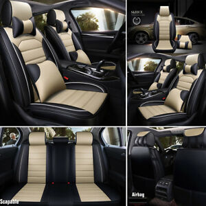 11pcs Car Seat Cover Front rear Cushion protector Pu Leather Interior Full Set