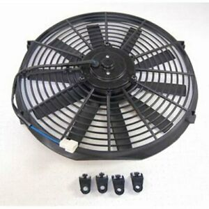 14 Electric Cooling Fan W Straight Blades Universal 12v Reversible Black