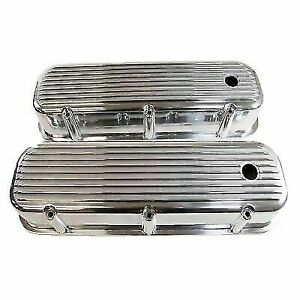 Polished Aluminum Bb Chevy Valve Covers Tall W Hole Finned