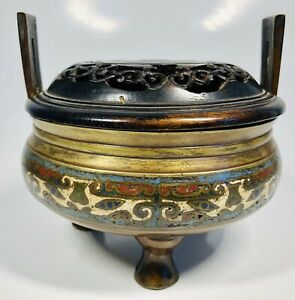 Antique 19th Century Chinese Hand Painted Bronze Incense Bowl With Wood Top