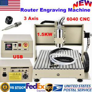 Usb 3 Axis 6040 Cnc Router Engraving Machine Pcb Wood Metal Engraver 1 5kw Vfd