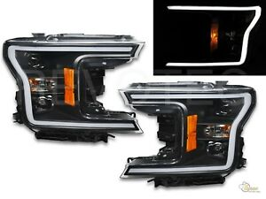 Black Led Plank Style Projector Headlights For 2018 2019 Ford F150 F 150 Xl Xlt