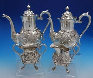 Baltimore Rose By Schofield Sterling Silver 4 Piece Tea Set 1295 4152