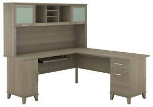 L shaped Desk With Hutch In Ash Gray id 3906521