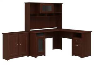 2 pc L Shaped Desk With Hutch Set In Harvest Cherry id 3906378
