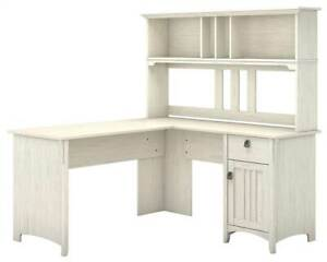 L Shaped Desk With Hutch In Antique White Finish id 3906618