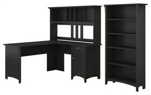 L shaped Desk With Hutch And Bookcase In Vintage Black id 3906520