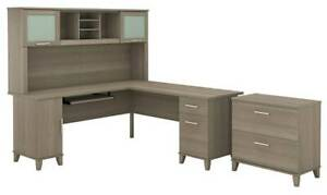 L shaped Desk With Lateral File Cabinet And Hutch In Ash Gray id 3906389