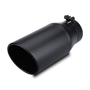 3 5 Inlet 5 Outlet 12 Long Bolt On Diesel Exhaust Tip Black Stainless Steel