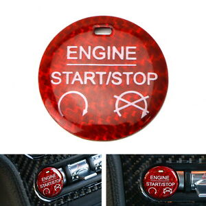 Red Carbon Fiber Keyless Engine Push Start Button Cover For 2015 Up Ford M