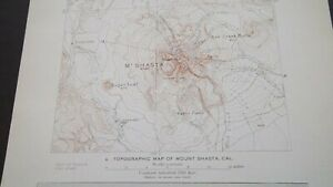 Antique Topographic Map Of Mount Shasta California Geology