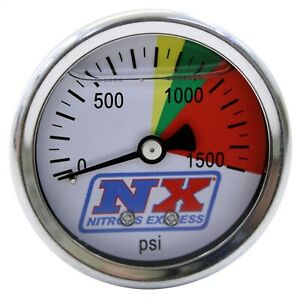 Nitrous Express 15508 Nitrous Pressure Gauge With Liquid Filled 0 1500 Psi