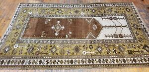 Antique Cr1900 1939s Muted Natural Dye Wool Pile Legendary Milas Rug 4 6 7 2