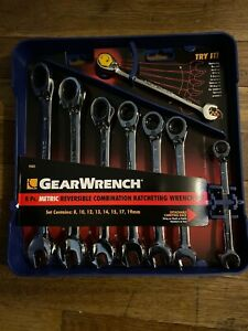 New Gearwrench 8 piece Reversible Ratcheting Combination Wrench Set Metric