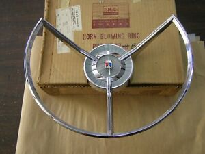 Nos Oem Ford 1959 Fairlane Steering Wheel Horn Ring Emblem Trim Ornament Nib