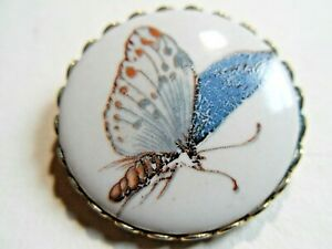 Antique Vintage Porcelain Button With Transfer Print Of Butterfly
