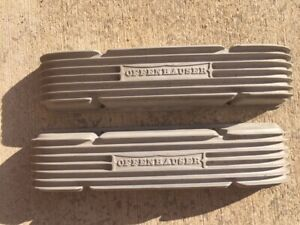 Offenhauser Vintage Sbc Chevy Finned Valve Covers 3288 Staggered Holes 265 283