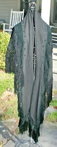 Embroidered Shawl Antique 1900 1920 Wool Hand Embroidery Scarf Victorian Cape 4