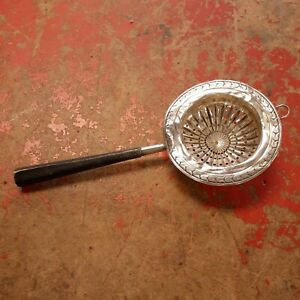 Webster Co Sterling Silver Tea Strainer Wood Handle Rare