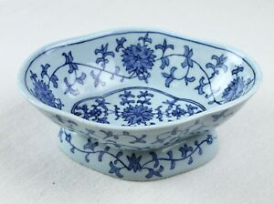 Porcelain Footed Chinese Dish Bowl Blue Painted Floral Flower Vine 7 5 No Mark