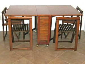 Gateleg Table With Folding Chairs Hideaway Storage Mid Century Vintage