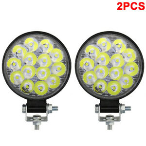 2pcs Led Offroad Worklight 42w Round Spot Light Lamp Headlight For Car Suv Jeep