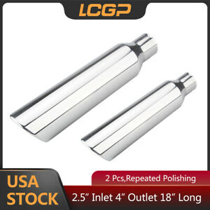 2 Pcs Universal 2 5 Inlet Exhaust Tip 4 Outlet 18 Long Diesel Truck Tailpipe