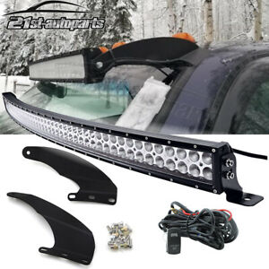 52 Curved Led Light Bar Upper Windshield Mount Kit For Dodge Ram 1500 2500 3500
