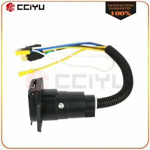 4 Way Flat To 7 Pin Round Trailer Plug Socket Adapter Connector Cable Auto Car