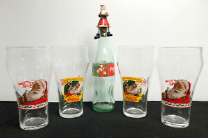 Vintage 1997 Coca Cola Christmas Glasses & 1995 Coke Bottle