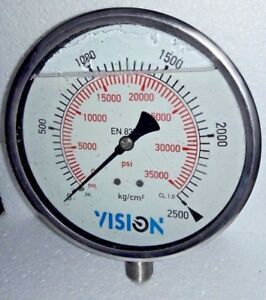 High Pressure Gauge Dual Scale 0 2500 Bar 0 35000 Psi Stainless Steel