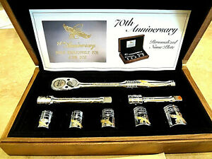 Snap On 24kt Gold Engraved 70th Anniversary Ratchet Socket Set In Wooden Case