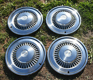 Beautiful Set Of 4 Vintage Chevy Chevrolet 15 Inch Custom Chrome Hubcaps