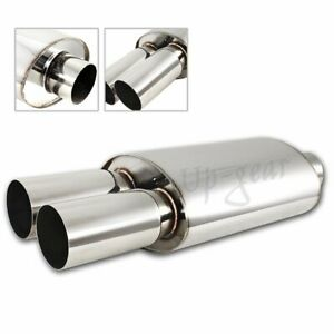 Universal 3 Dual Tip Dtm T 304 Exhaust Resonator Canister Muffler 2 5 Inlet