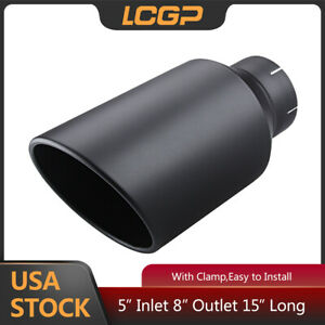 Exhaust Tip 5 Inlet 8 Outlet Black Muffler Tip Clamp On 15 long Truck Tailpipe