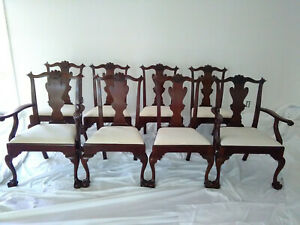 Amazing Set Of 8 Henkel Harris Model 102 Claw Foot Mahagony Dining Room Chairs