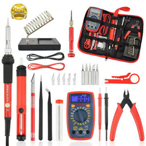 60w Soldering Iron Kit Uk Electronics Welding Irons Solder Tools Adjustable Temp