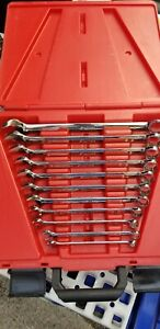 Snap On 11 Pc 12 Point Sae Flank Drive Standard Combination Wrench Set 3 8 1