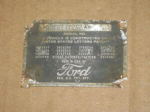 1952 Ford Customline Coupe Cowl Data Body Plate Trim Code Tag Oem